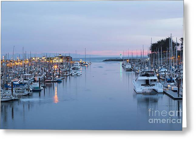 Santa Cruz Harbor At Dusk Greeting Card