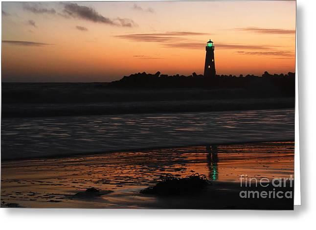 Santa Cruz Harbor Lighthouse At Sunset Greeting Card by Paul Topp