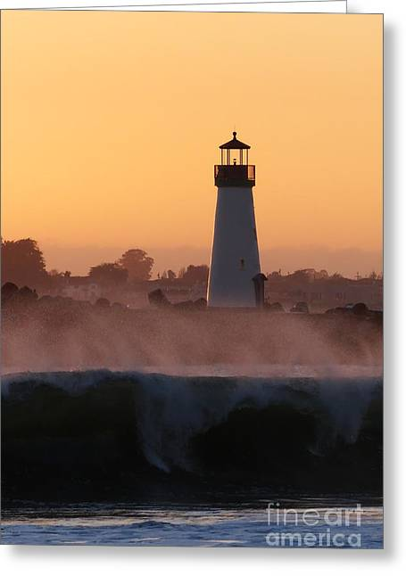 Santa Cruz Harbor Lighthouse With Wave Greeting Card