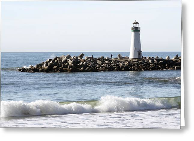 Santa Cruz Lighthouse Wave Wide Greeting Card
