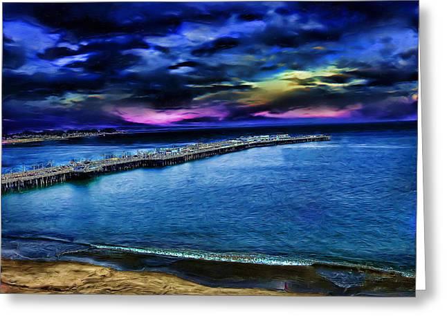 Santa Cruz Pier Greeting Card by Cary Shapiro