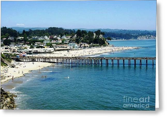 Santa Cruz  Pier Greeting Card by Ted Pollard