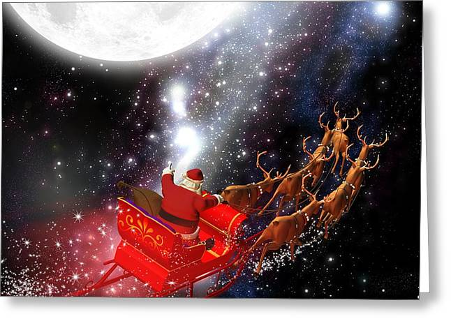 Astronaut Santa Delivering Presents Greeting Card by Doc Braham