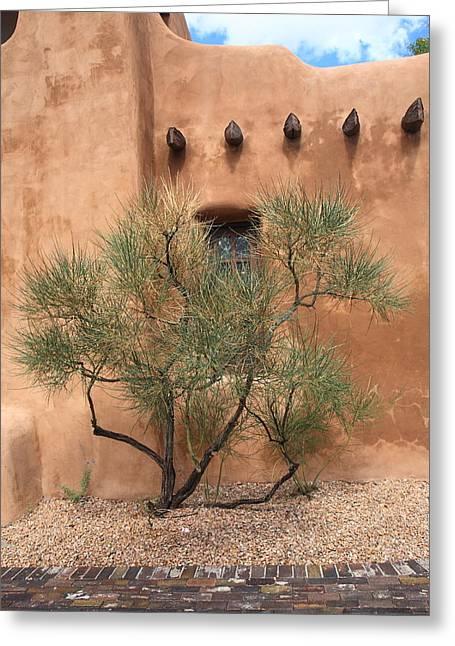Santa Fe - Adobe Building And Tree Greeting Card by Frank Romeo