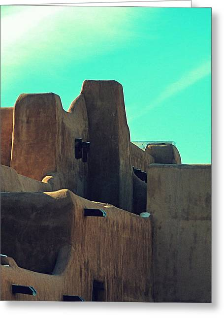 Santa Fe Adobe Greeting Card by Gia Marie Houck