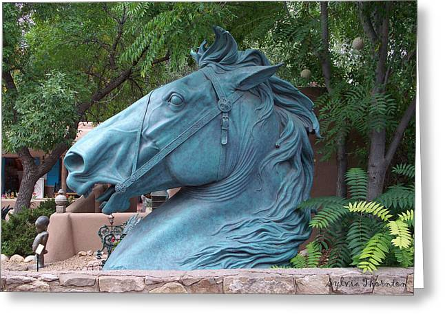 Greeting Card featuring the photograph Santa Fe Big Blue Horse by Sylvia Thornton