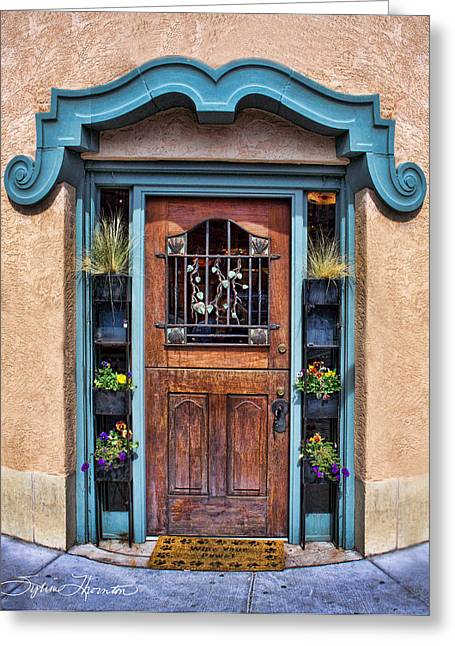 Greeting Card featuring the photograph Santa Fe Blue Door by Sylvia Thornton