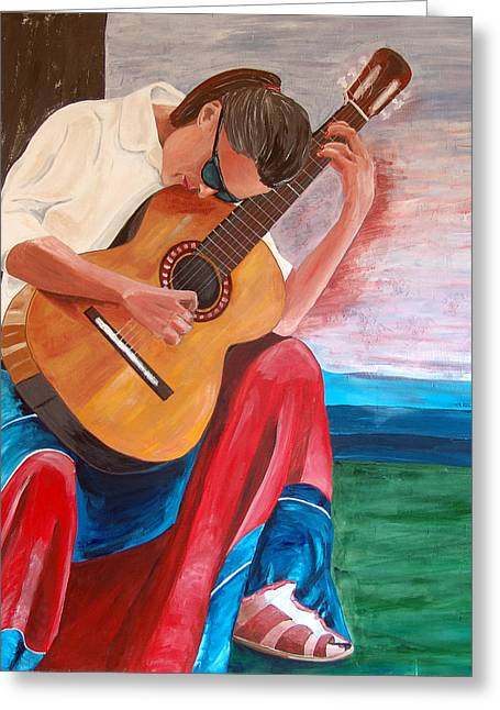 Santa Fe Blues After Picasso Greeting Card by Kevin Callahan