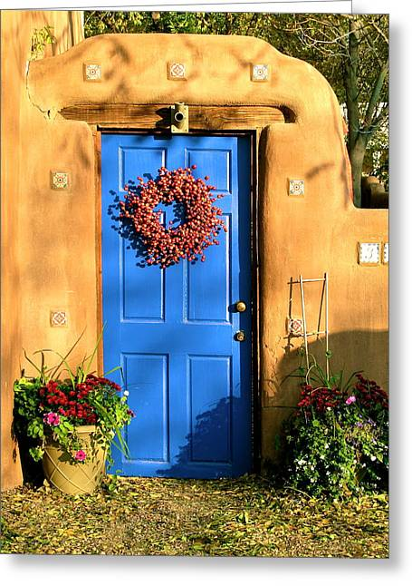 Greeting Card featuring the photograph Santa Fe Door by John Babis