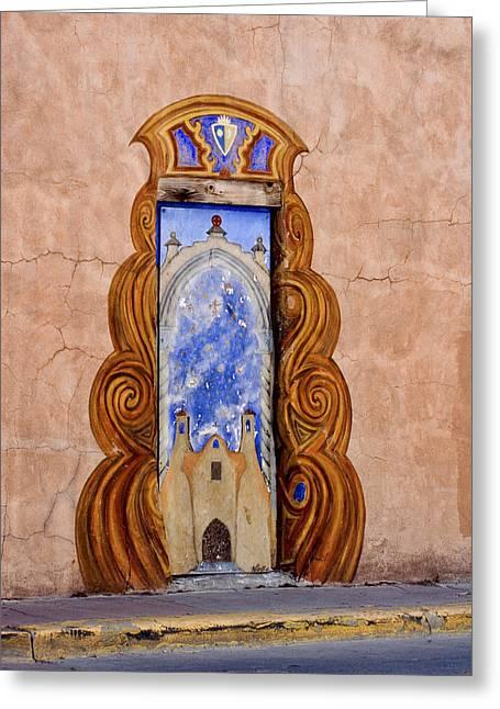 Santa Fe Door Mural Greeting Card by Carol Leigh