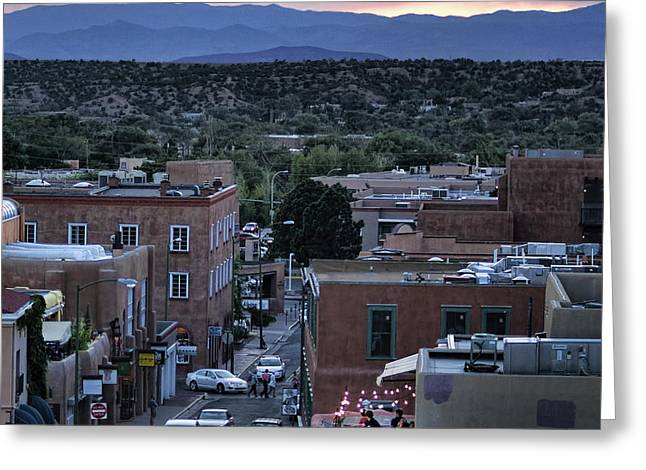 Greeting Card featuring the photograph Santa Fe Evening Rooftops by John Hansen