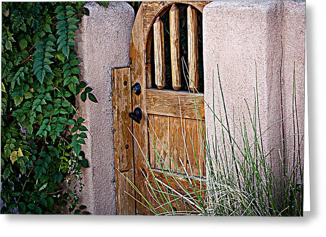 Greeting Card featuring the photograph Santa Fe Gate by Patrice Zinck