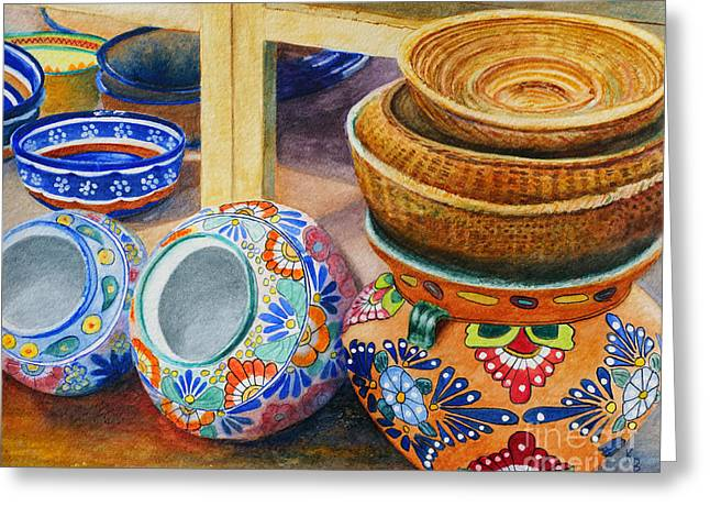 Greeting Card featuring the painting Santa Fe Hold 'em Pots And Baskets by Karen Fleschler