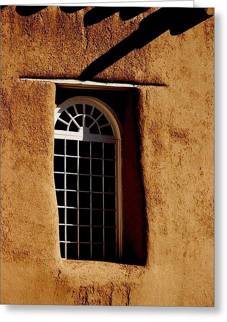 Santa Fe Nm Window Greeting Card by Jacqueline M Lewis