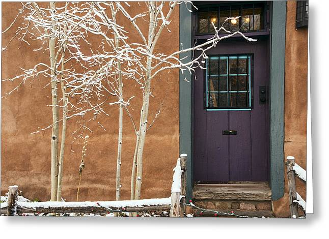 Santa Fe Purple Door Greeting Card by Dave Dilli