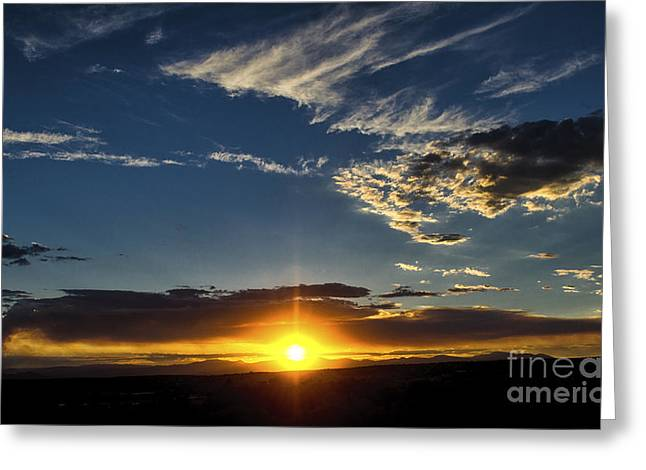 Santa Fe Wildfire At Sunset Greeting Card