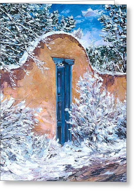 Santa Fe Winter Greeting Card by Steven Boone