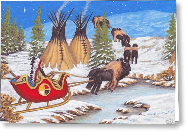 Santa For Indians Greeting Card by Billie Bowles