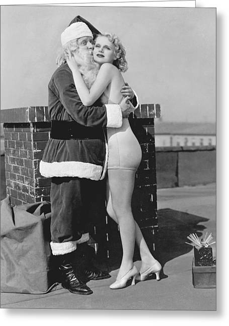 Santa Gets Warm Welcome Greeting Card by Underwood Archives