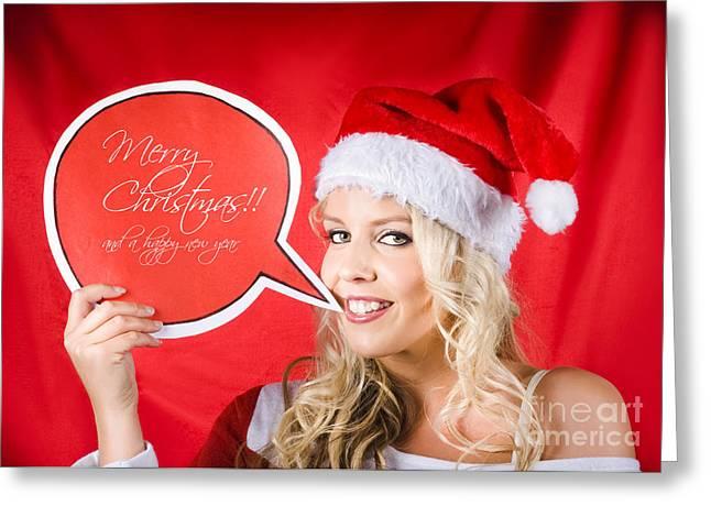 Santa Girl Holding Blank Bubble Board Greeting Card by Jorgo Photography - Wall Art Gallery