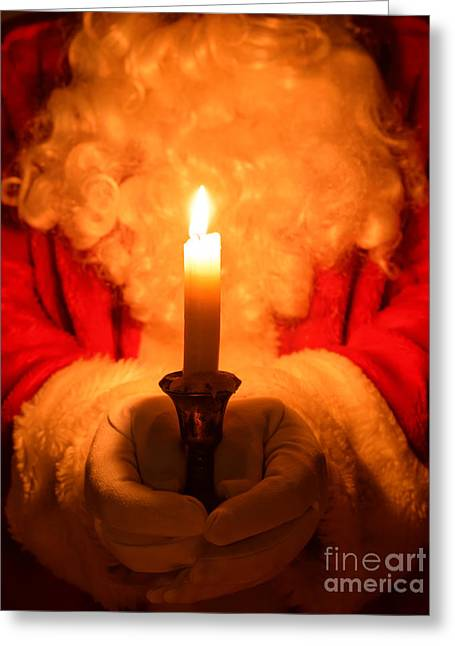 Santa Holding Candle Greeting Card by Amanda Elwell