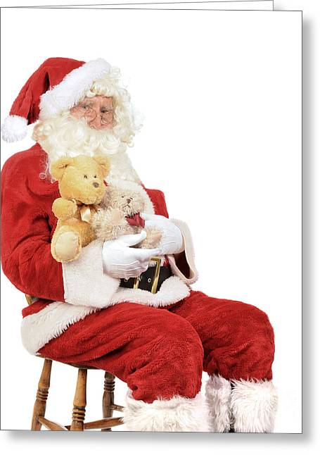 Santa Holding Teddy Bears Greeting Card by Amanda Elwell