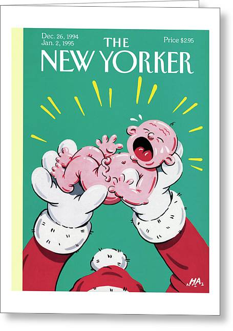 Santa Holding The New Year Baby Who Is Crying Greeting Card