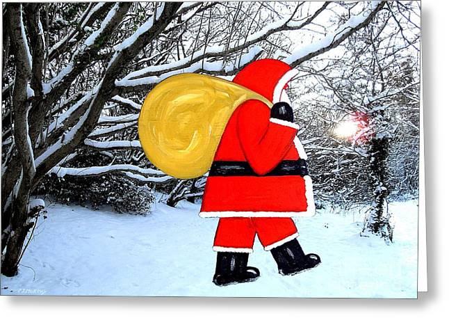 Santa In Winter Wonderland Greeting Card by Patrick J Murphy