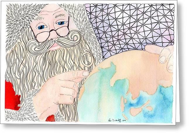 Santa Is Planning Greeting Card by Paula Dickerhoff