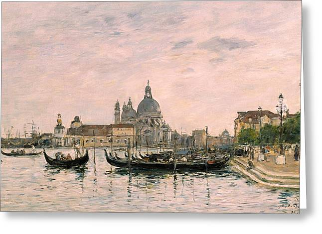 Santa Maria Della Salute And The Dogana Greeting Card by Eugene Louis Boudin