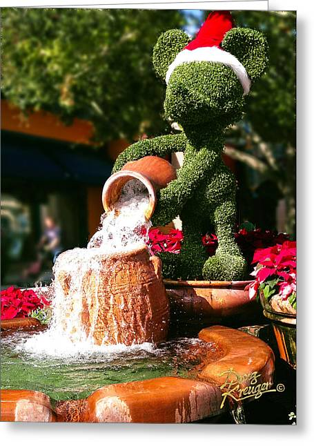 Greeting Card featuring the photograph Santa Mickey Topiary Fountain by Doug Kreuger