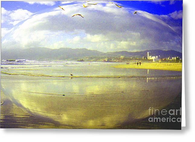 Santa Monica Beach Greeting Card by Jerome Stumphauzer