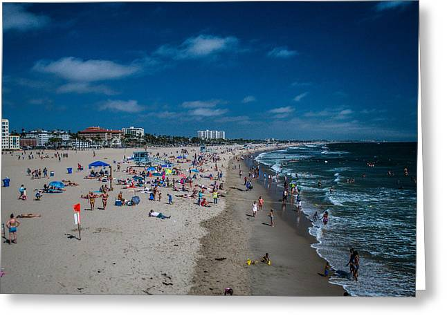 Santa Monica Beach Greeting Card by Joe Scott
