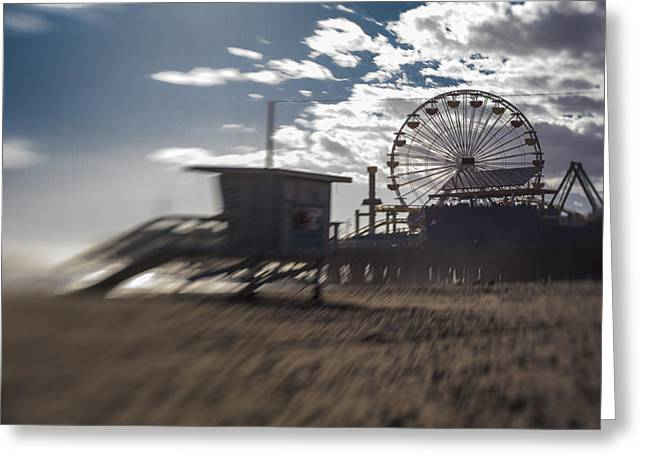 End Of The Day Or Times At Santa Monica Pier Greeting Card