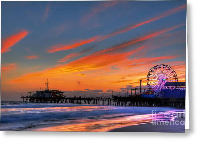 Santa Monica Pier At Dusk Greeting Card by Eddie Yerkish