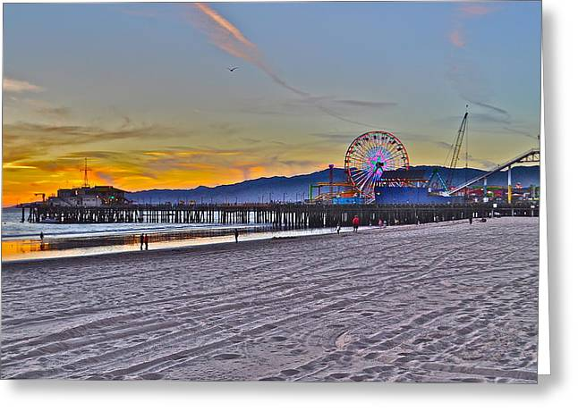Santa Monica Pier At Dusk Greeting Card