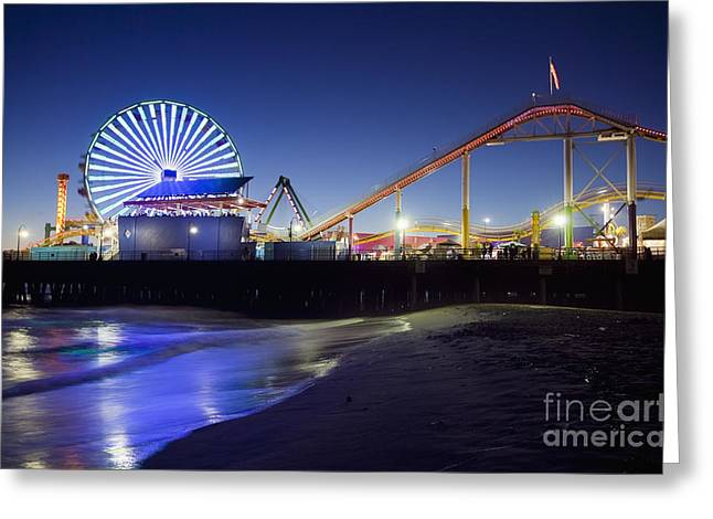 Santa Monica Pier At Night Greeting Card