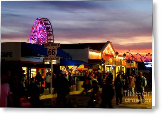 Santa Monica Pier At Sunset Greeting Card by Diana Sainz
