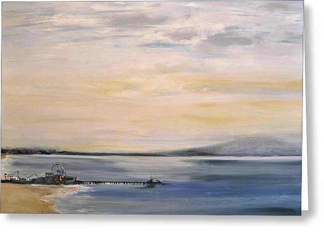 Greeting Card featuring the painting Santa Monica Pier by Lindsay Frost