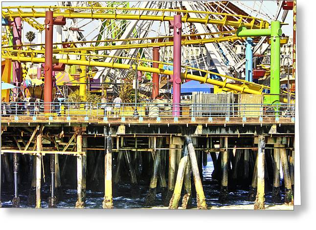 Santa Monica Pier Over And Under Greeting Card