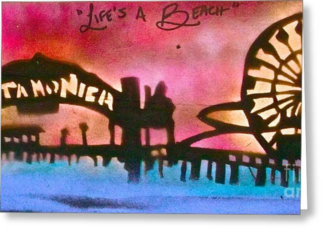 Santa Monica Pier Red Greeting Card by Tony B Conscious