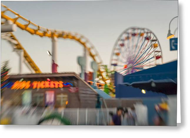 Santa Monica Pier Ride Entrance Greeting Card by Scott Campbell
