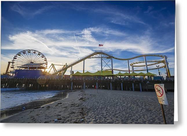 Event Horizon Santa Monica Pier Sunset Greeting Card by Scott Campbell