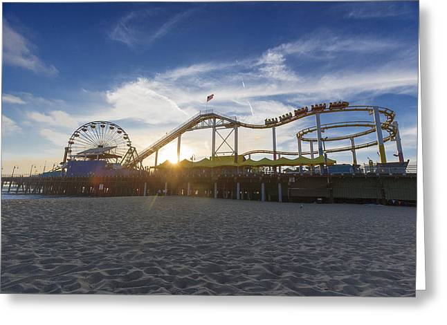 Santa Monica Pier Roller Coaster On Top Greeting Card by Scott Campbell