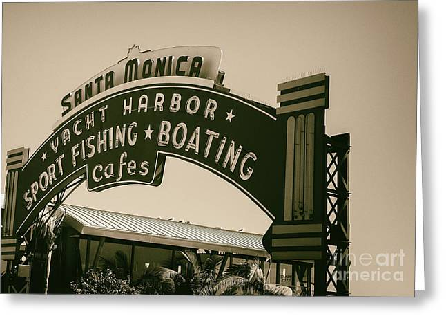 Greeting Card featuring the photograph Santa Monica Pier Sign by David Millenheft