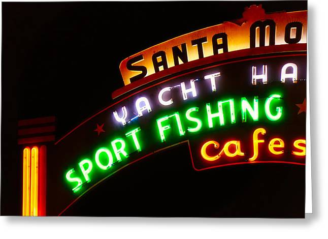 Greeting Card featuring the photograph Santa Monica Pier Sign by Michael Hope