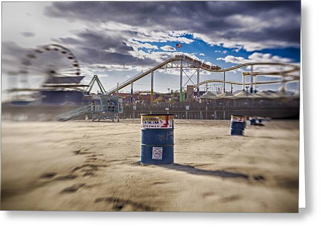 End Times At Santa Monica Pier Greeting Card by Scott Campbell