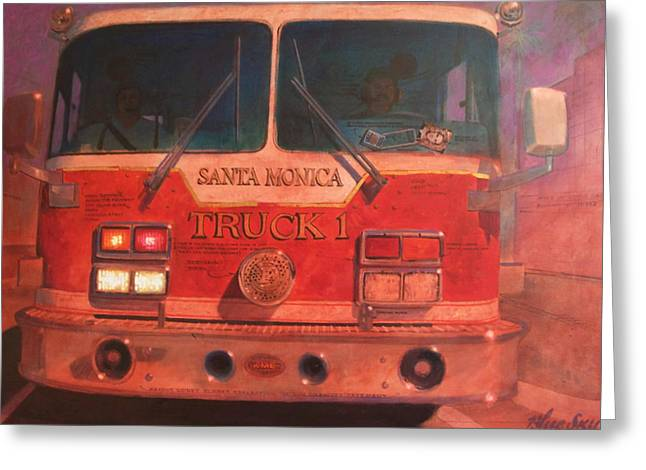 Santa Monica Truck One Greeting Card by Blue Sky