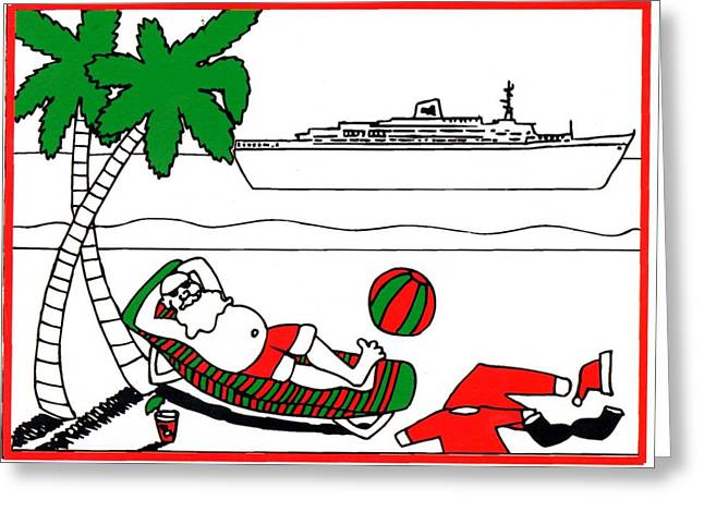 Santa On Vacation Greeting Card by Genevieve Esson