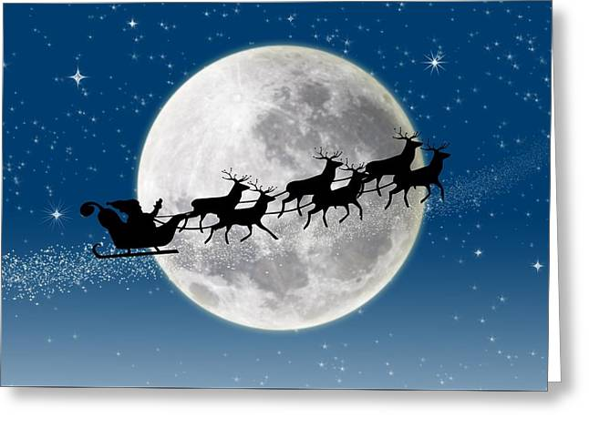 Santa Over The Moon Greeting Card by Doc Braham